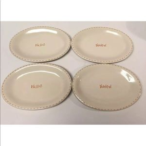Rae Dunn BLESSED THANKFUL Plates Set Thanksgiving